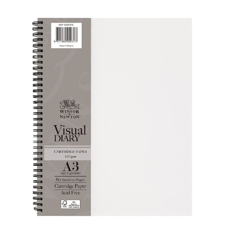 Winsor & Newton Visual Diary 110GSM A3 Clear Cover 60 Sheets, , hi-res