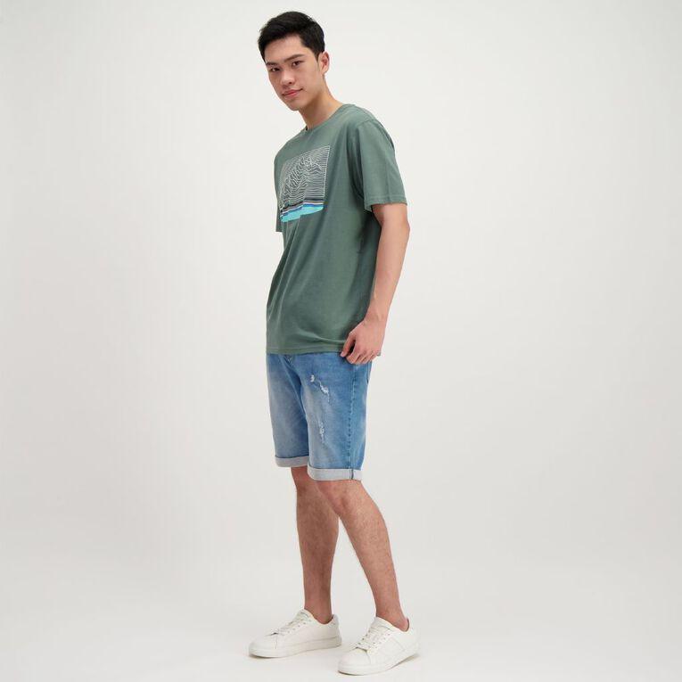 H&H Men's Short Sleeve Slogan Tshirt, Green Dark, hi-res