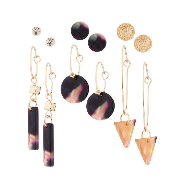 Basics Studs Tortoise Earrings 6 Pairs, Gold/Navy, hi-res