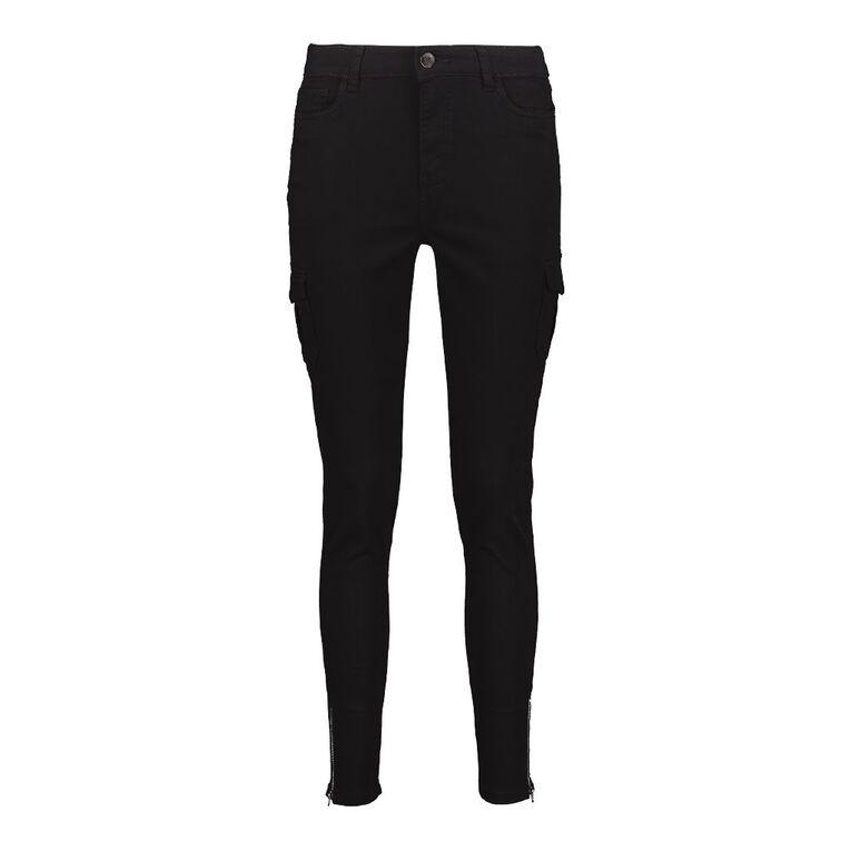 H&H Women's Zip Skinny Cargo Pants, Black, hi-res