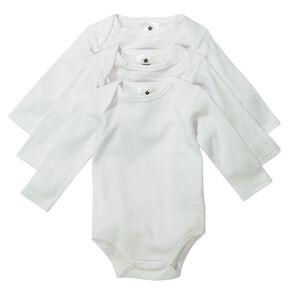Young Original Unisex Long Sleeve Plain Bodysuit 3 Pack