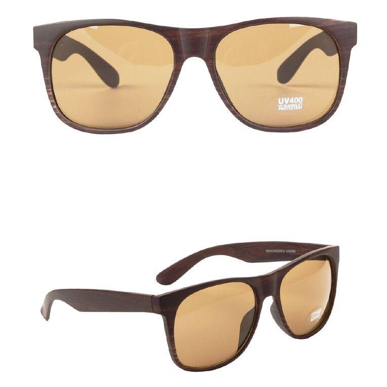 Beach Works Unisex Fashion Wood Sunglasses, Brown, hi-res