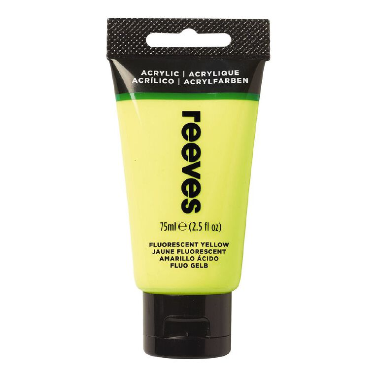 Reeves Fine Acrylic 75ml Fluorescent Yellow 712 75ml, , hi-res