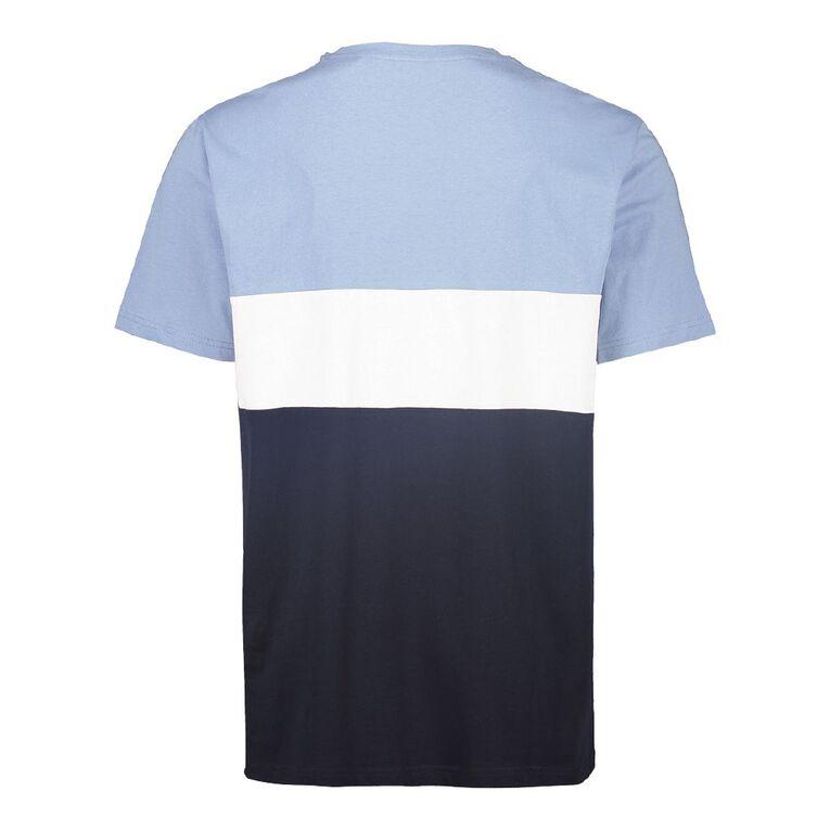 H&H Men's Colour Block Crew Tshirt, Navy/Sky, hi-res