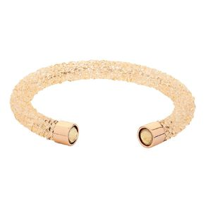 Stainless Steel Peach Crystal Open Bangle