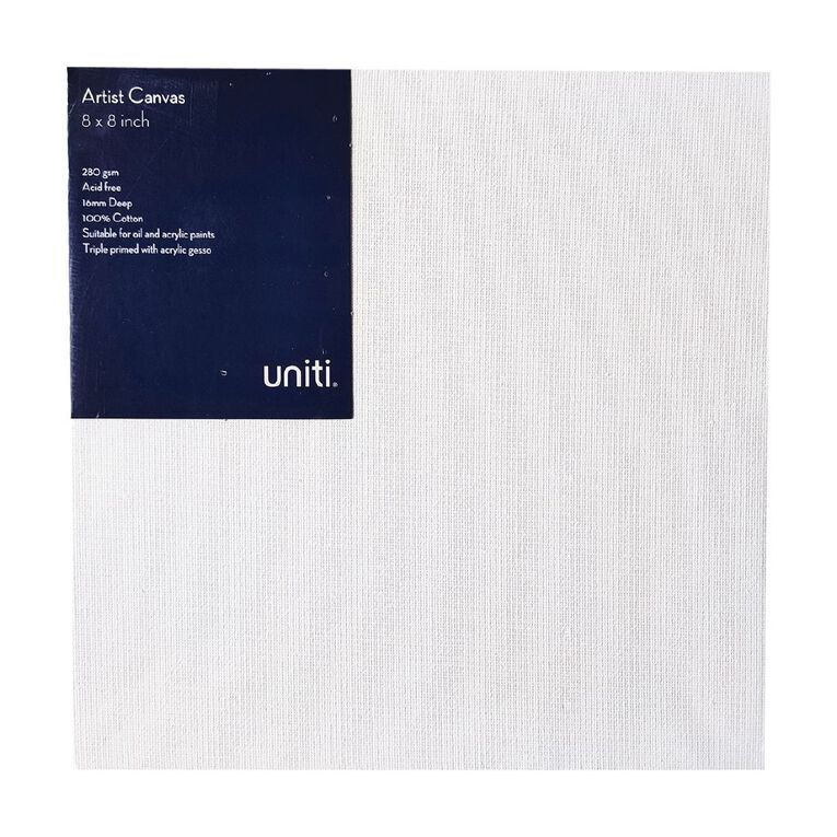 Uniti Blank Canvas 280gsm (8in x 8in) 20cm x 20cm, , hi-res
