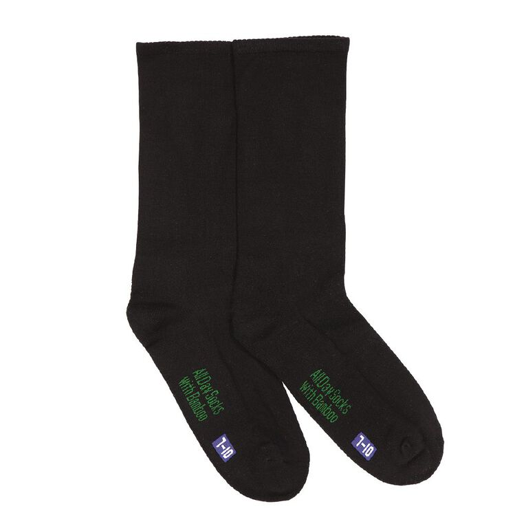 Underworks Men's Crew All Day With Bamboo Socks 2 Pack, Black, hi-res image number null