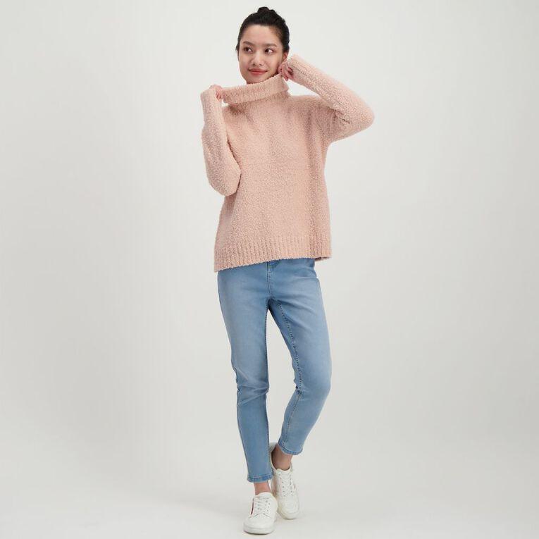H&H Women's Fluffy Roll Neck Jumper, Pink Light, hi-res