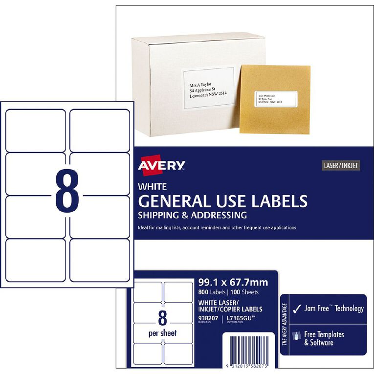 Avery General Use Labels White 800 Labels, , hi-res
