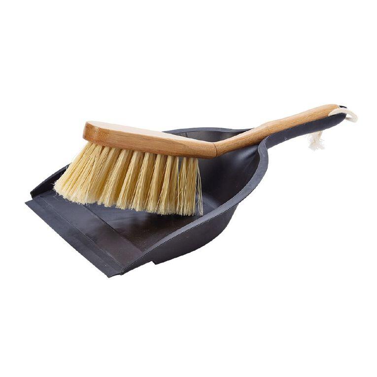 Living & Co Bamboo Dustpan & Brush Multi-Coloured, , hi-res