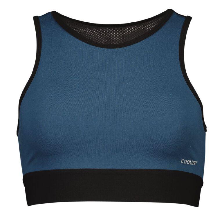 Active Intent Women's Mesh Back Crop Top, Blue Dark, hi-res