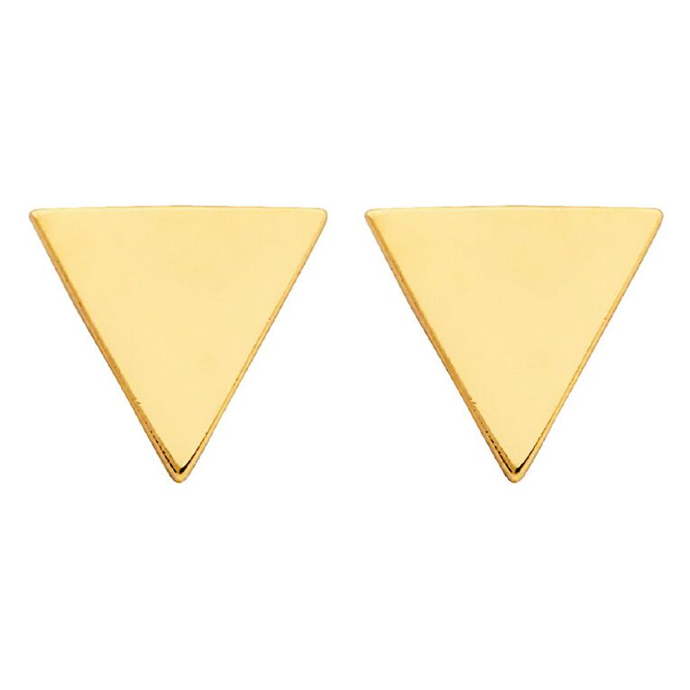 9ct Gold Triangle Stud Earrings, , hi-res