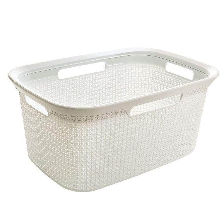 Living & Co Laundry Basket White 45L, , hi-res