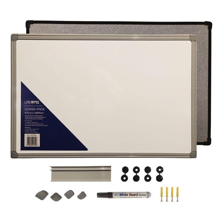 Litewyte LiteWyte Whiteboard/Pinboard Combo 400mm x 600mm, , hi-res