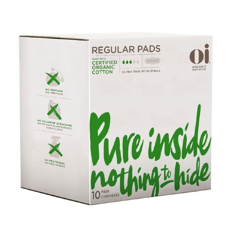Oi Organic Cotton Ultrathin Regular Pads Wings 10 Pack, , hi-res image number null