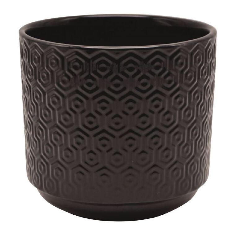 Kiwi Garden Hex Texture Pot Black 21cm, , hi-res image number null