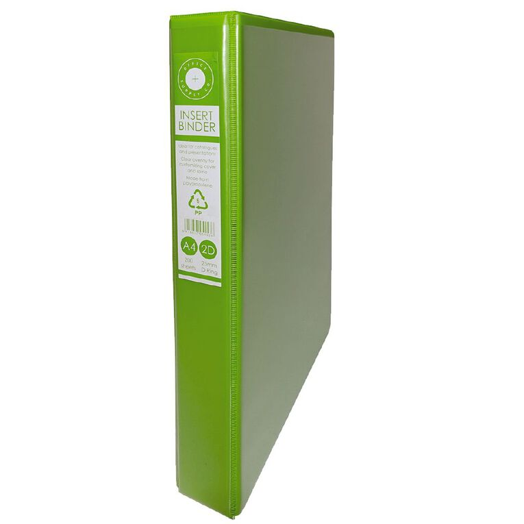 Office Supply Co 2D Ringbinder Overlay Green A4, , hi-res