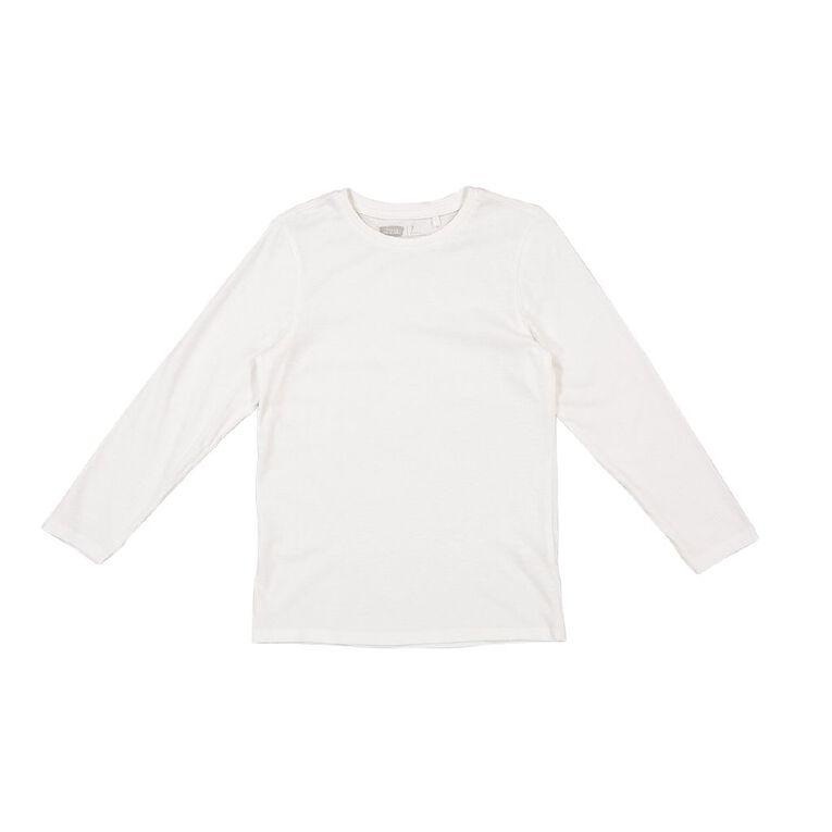 Young Original Plain Long Sleeve Tee, White, hi-res