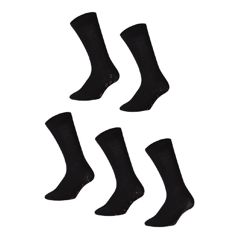 H&H Men's Sole Design Business Socks 5 Pack, Black, hi-res
