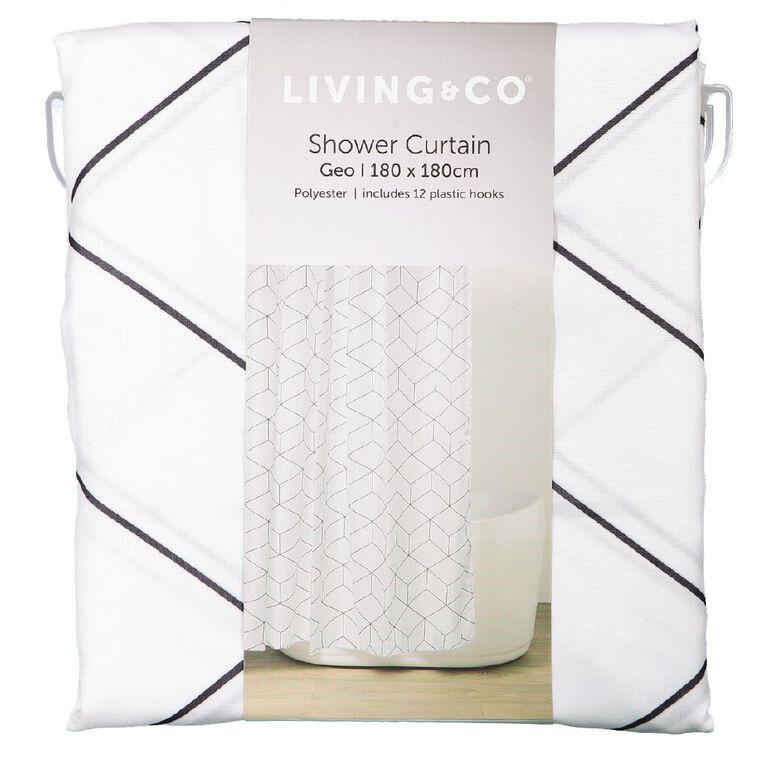 Living & Co Shower Curtain Geo White 180cm x 180cm, White, hi-res