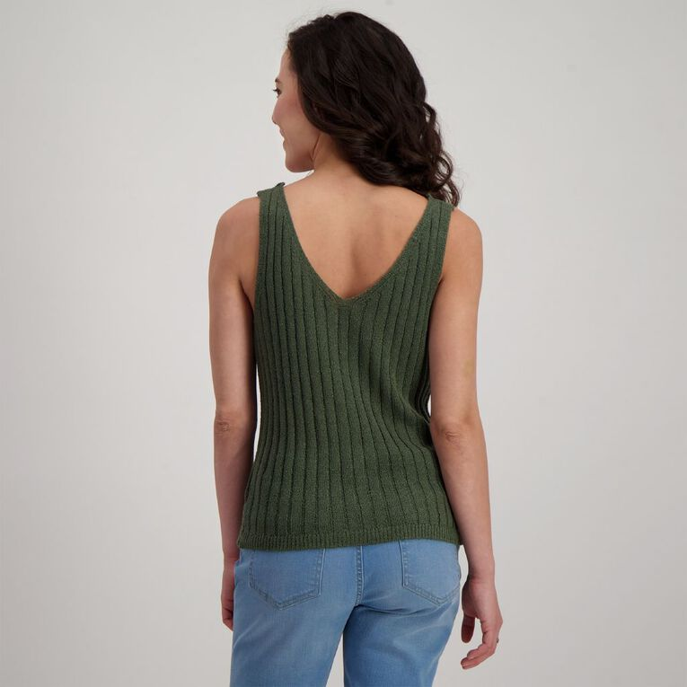 H&H Women's Sleeveless Button Tank, Green Dark, hi-res image number null