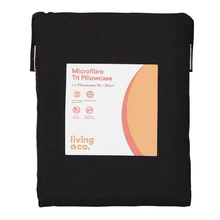 Living & Co Pillowcase Tri Microfibre Black 76cm, Black, hi-res