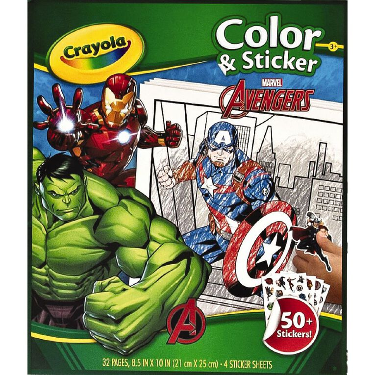 Crayola Color & Sticker Book Marvel Avengers, , hi-res