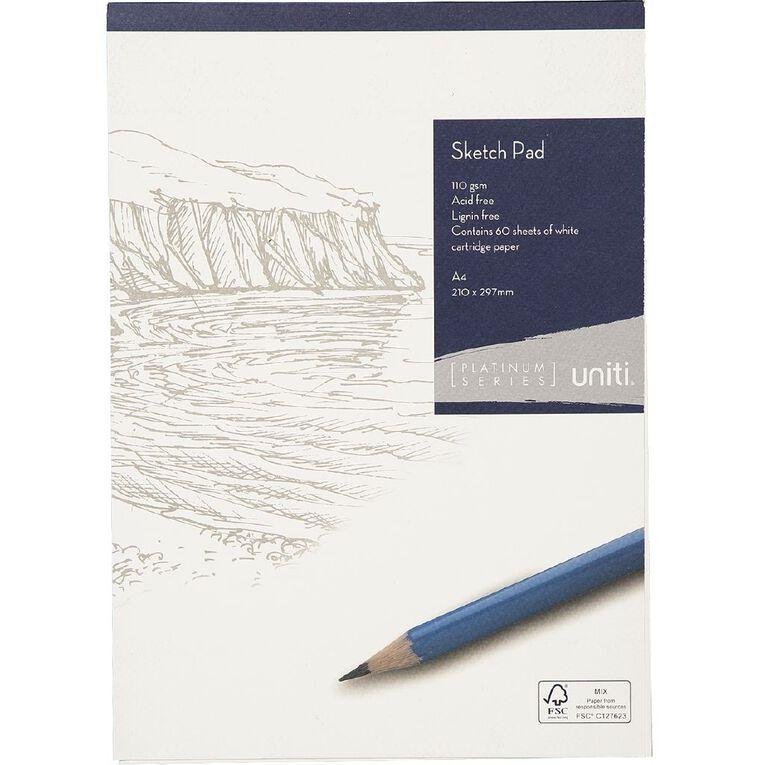 Uniti Platinum Sketch Pad 110gsm A4 60 sheets, , hi-res