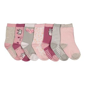 H&H Infant Girls' Crew Socks 7 Pack