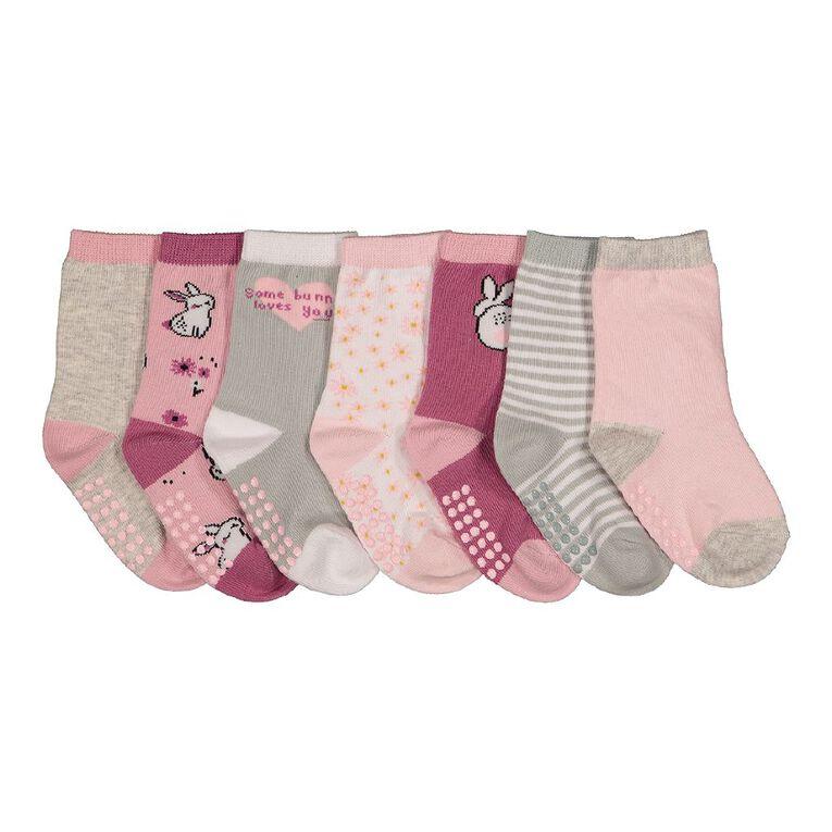 H&H Infant Girls' Crew Socks 7 Pack, Pink, hi-res