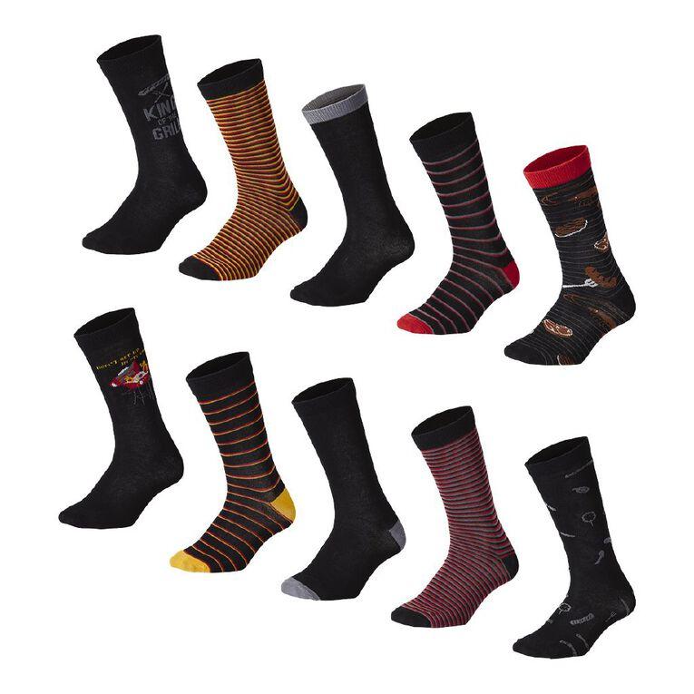 H&H Men's Crew Socks 10 Pack, Black, hi-res