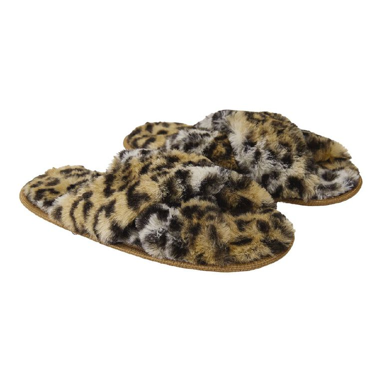 H&H Fluffy Crossover Slippers, Brown, hi-res