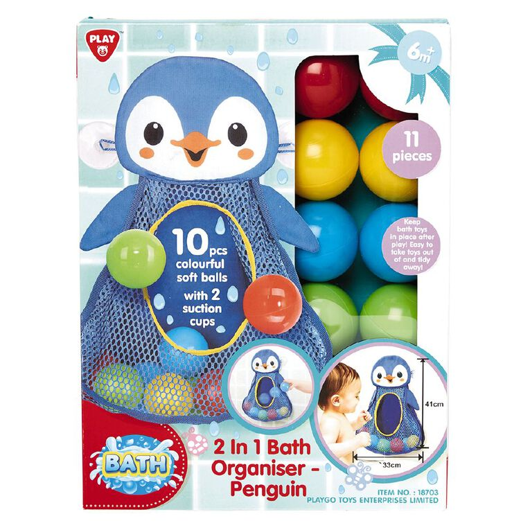 Playgo 2 In 1 Bath Organiser Penguin, , hi-res image number null