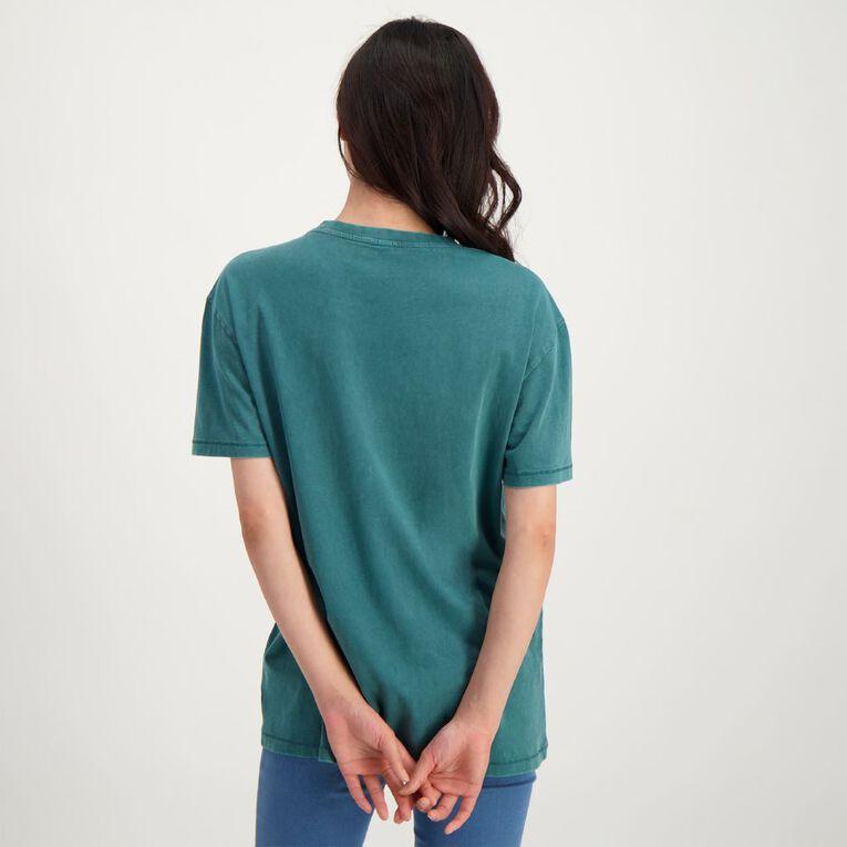 H&H Women's Acid Wash Boyfriend Pocket Tee, Blue Dark, hi-res