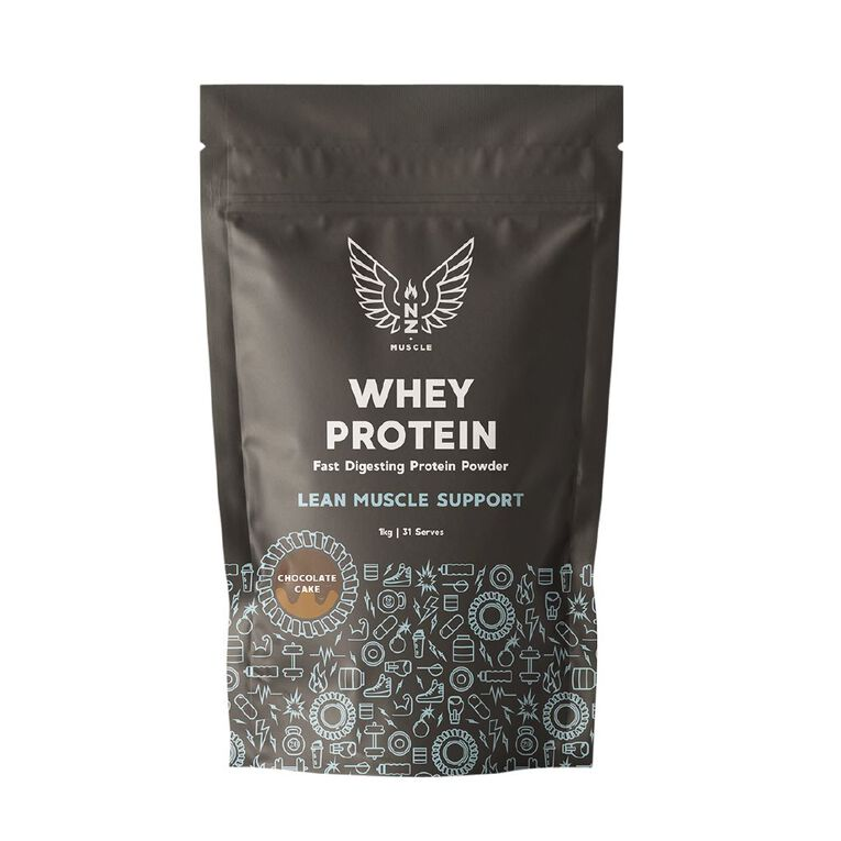 NZ Muscle Whey Protein Chocolate Cake 1Kg, , hi-res
