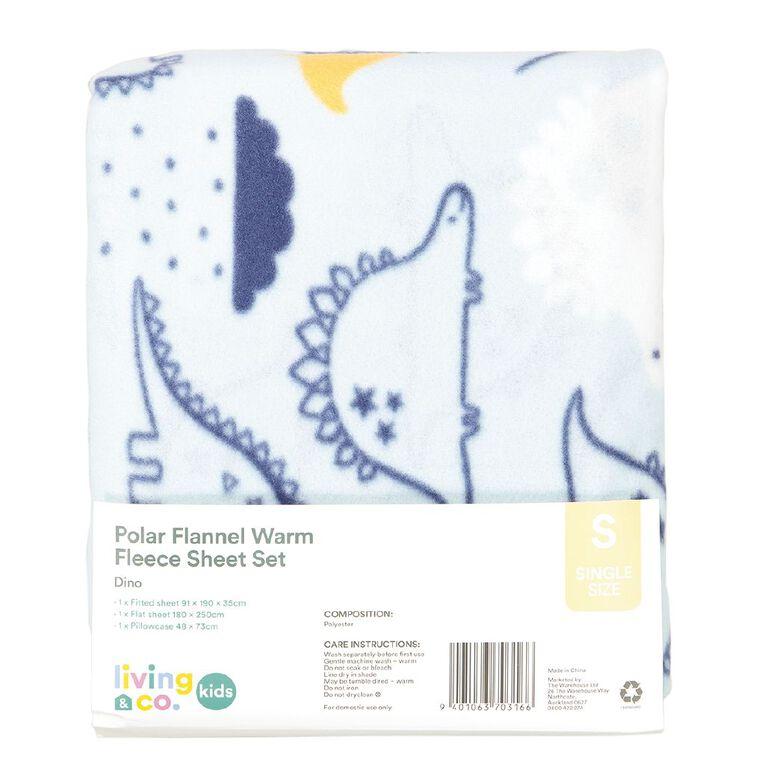 Living & Co Kids Sheet Set Polar Flannel Dino Multi-Coloured Single, Multi-Coloured, hi-res