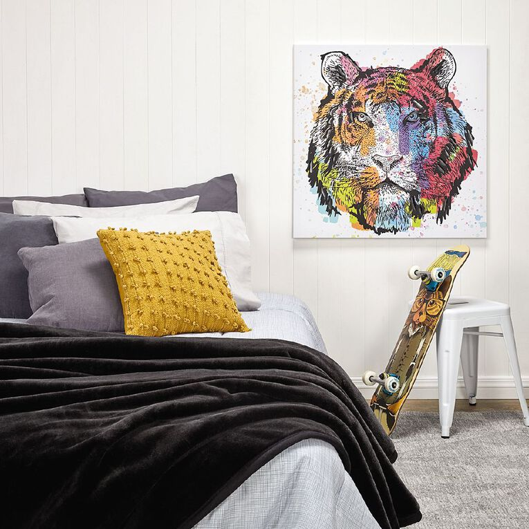 Living & Co Blanket Mink Feel 580gsm Black Queen, , hi-res