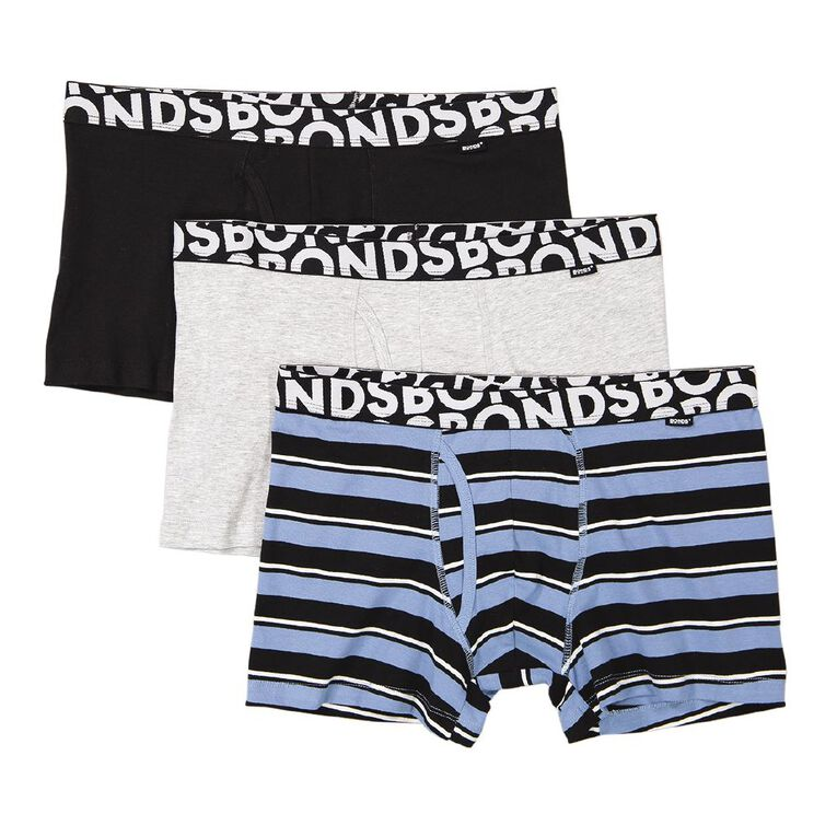 B FOR BONDS Men's Trunks 3 Pack, Black/Grey, hi-res