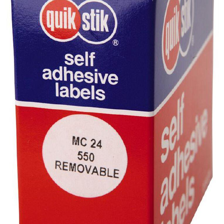 Quik Stik Labels Dots Mc24 550 Pack White, , hi-res