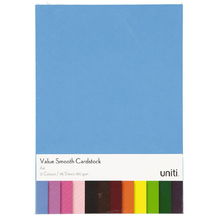 Uniti Value Cardstock Smooth 180gsm Bright's 48 Sheets A4, , hi-res