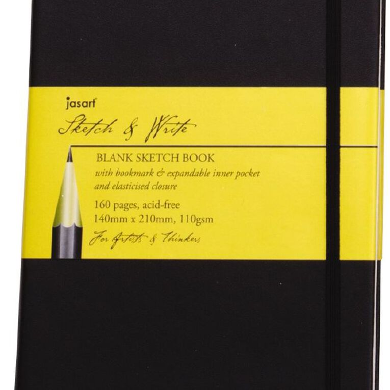 Jasart Sketch & Write Sketch Book Black A4, , hi-res