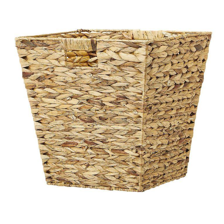 Living & Co Water Hyacinth Square Basket Natural Medium, , hi-res