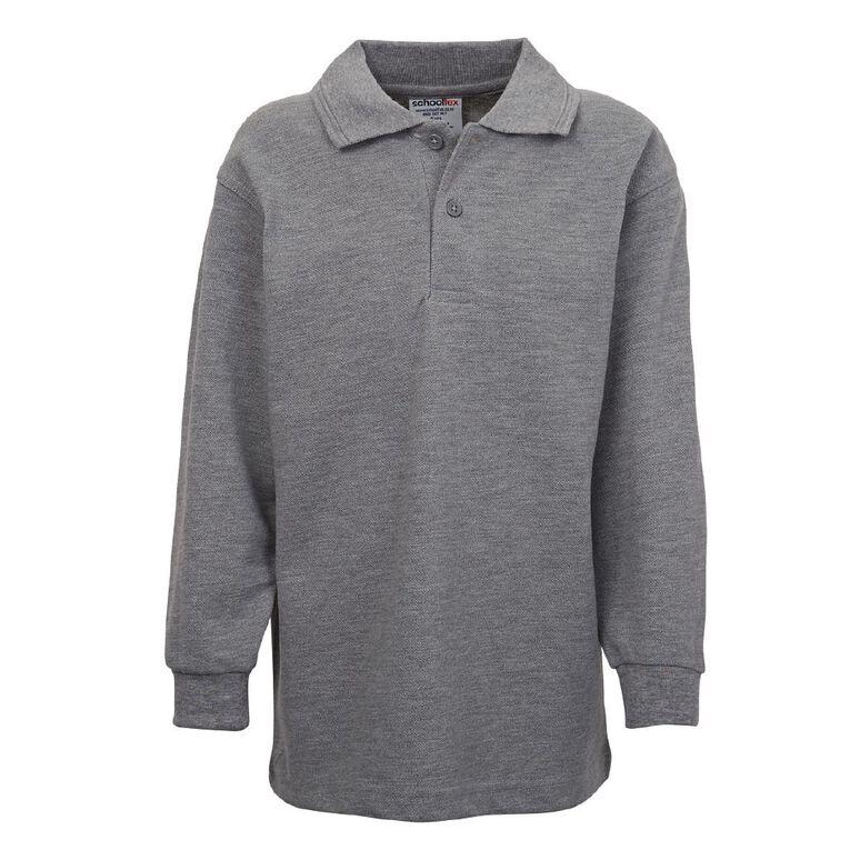 Schooltex Kids' Long Sleeve Polo, Grey Marle, hi-res