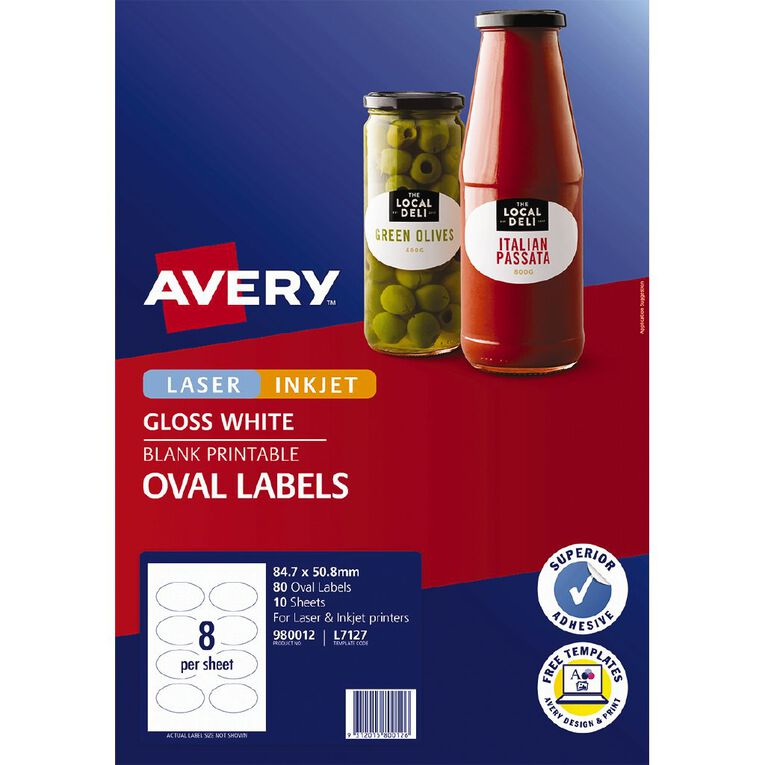 Avery Gloss Oval Labels 84.7 x 50.8 mm 80 Labels, , hi-res