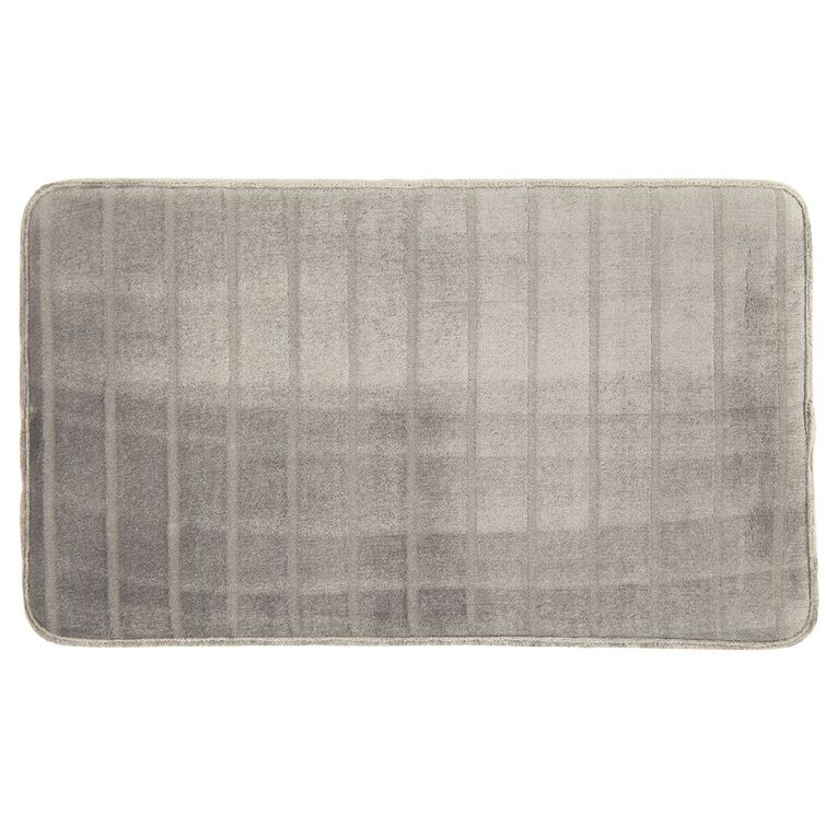 Living & Co Bath Mat Memory Foam Pewter 45cm x 75cm, Pewter, hi-res image number null