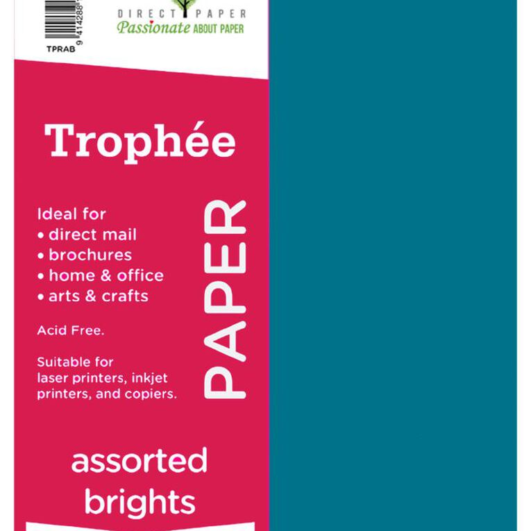 Trophee Paper 80gsm 500 Pack Brights Assorted A4, , hi-res
