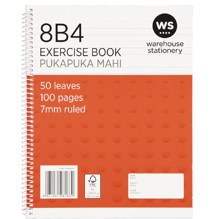 Impact Exercise Book 8B4 7mm Ruled Spiral 50 Leaf Wiro Red, , hi-res
