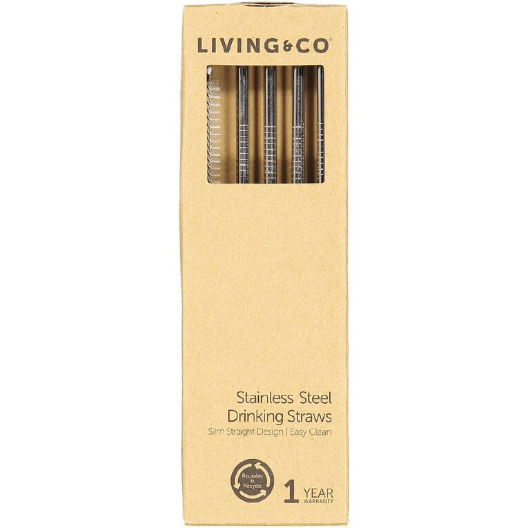 Living & Co Stainless Steel Straw Set Slim Straight, , hi-res