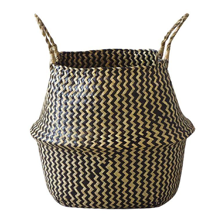 Living & Co Seagrass Belly Basket Zig Zag Multi-Coloured, , hi-res