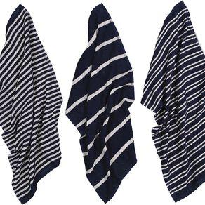 Living & Co Terry Stripe Tea Towel Set 3 Pack Navy 40cm x 65cm